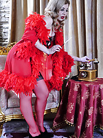 Dazzling variety show girl changing out of her smashing red-n-black nylons