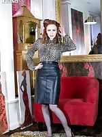 Saucy redhead Ella in racy blouse and leather pencil skirt, sheer black vintage ff nylons and lacy lingerie!