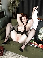 Jay is having some quite study time in black ff nylons and white panties