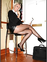 Hot MILF blonde in sheer vintage nylon stockings and high heels