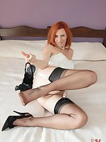 sheer nylon delight for redhead